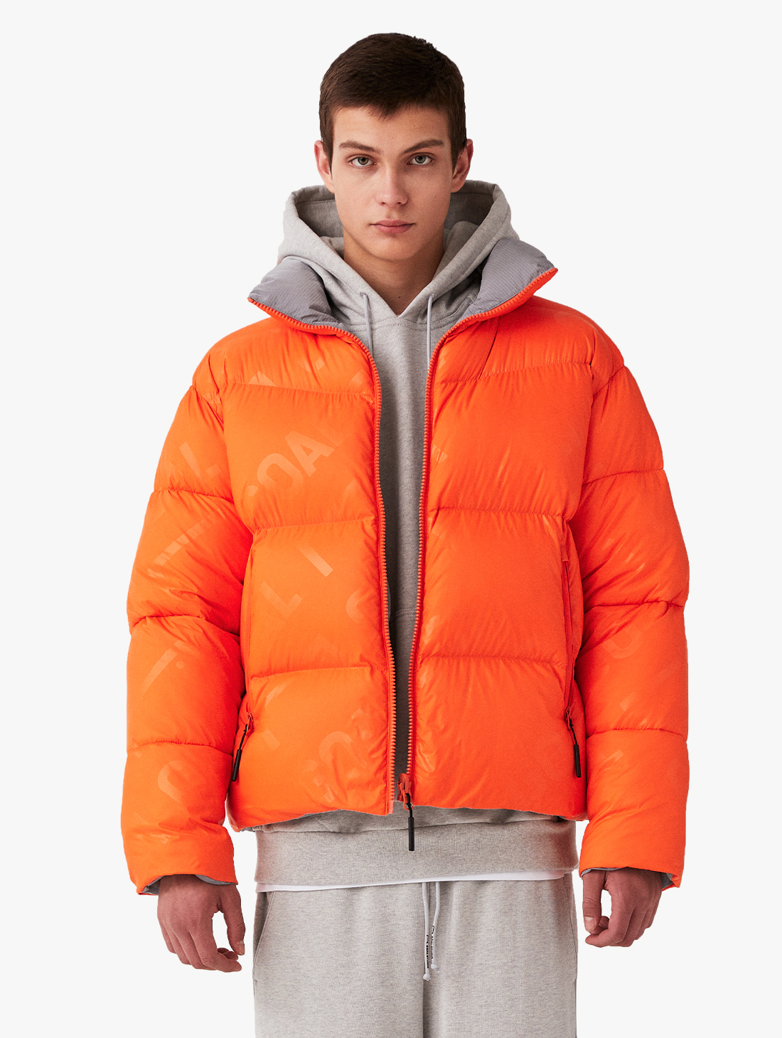 GOALSTUDIO REVERSIBLE GOOSE SHORT DOWN JACKET - ORANGE