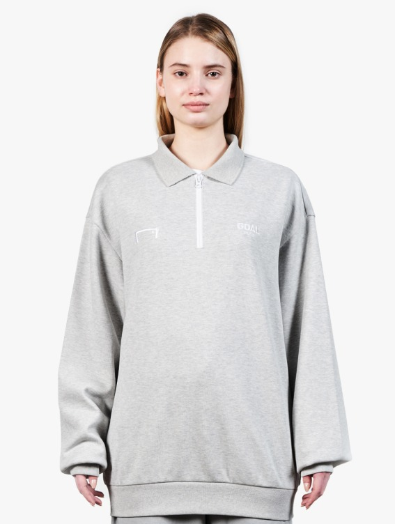 GOALSTUDIO LOGO LONG SLEEVE POLO SHIRT - MELANGE GREY