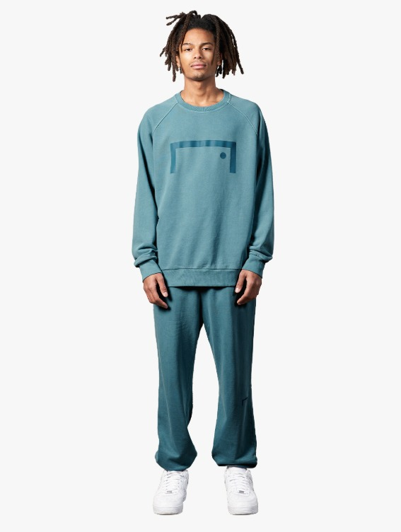 GOALSTUDIO [10% OFF] PIGMENT DYE SWEATSHIRT & JOGGER PANTS SET - BLUE