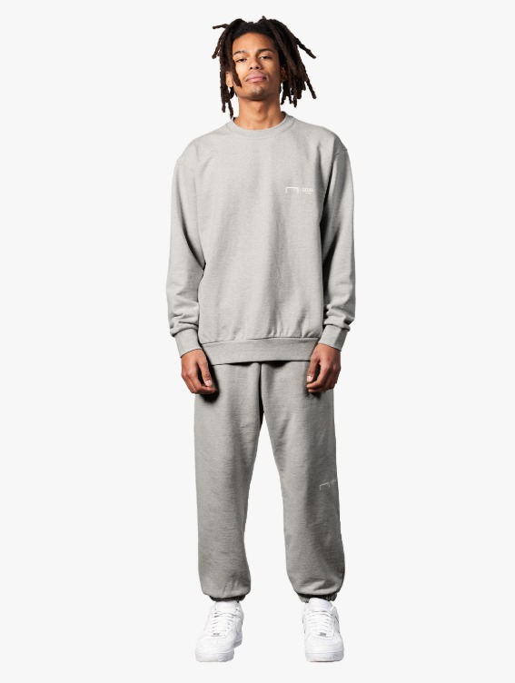 GOALSTUDIO [10% OFF] SIGNATURE LOGO SWEATSHIRT & PANTS SET - MELANGE GREY